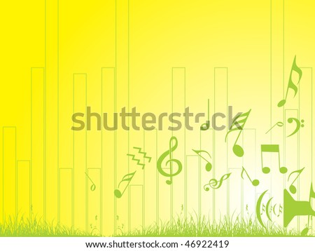 music notes and grass on yellow background wallpaper - stock vector