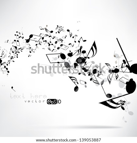 Music notes and shadow.Abstract musical background. Vector illustration.Mensural musical notation.Black notes symbols.Note value.Music staff. - stock vector