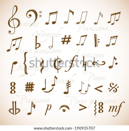Music notes and signs hand-drawn in sketchy style. Vector illustration. - stock vector