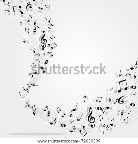 Music notes  background - stock vector