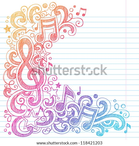 Music Notes G Clef Vector- Back to School Sketchy Notebook Doodles with Music Notes and Swirls- Hand-Drawn Vector Illustration on Lined Sketchbook Paper Background - stock vector