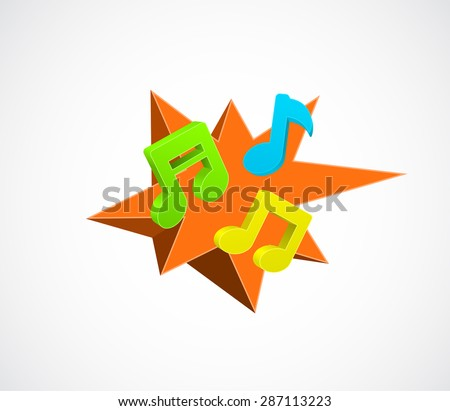 music notes icon on 3d splash star background - music concept - stock vector