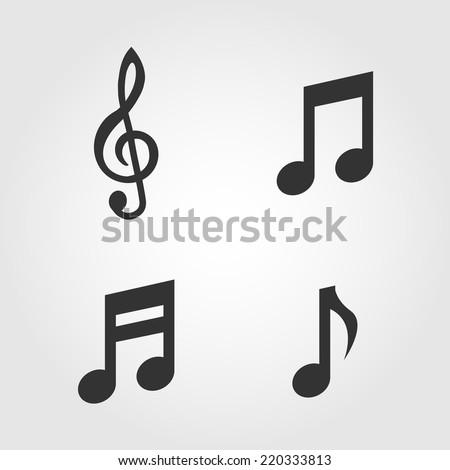 Music notes icons set, flat design - stock vector