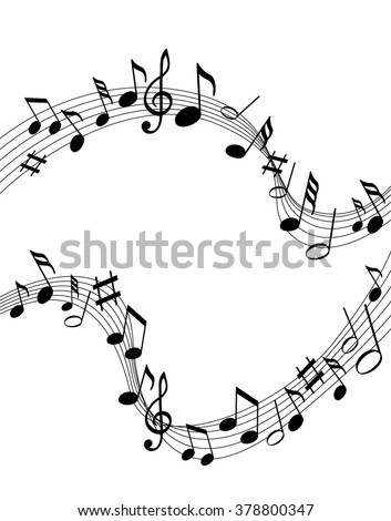 Music notes on a solid white background - stock vector
