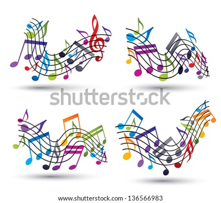 Music notes on staves, set of vector abstract music theme symbols for design. - stock vector