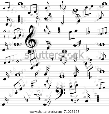 Music notes seamless - stock vector