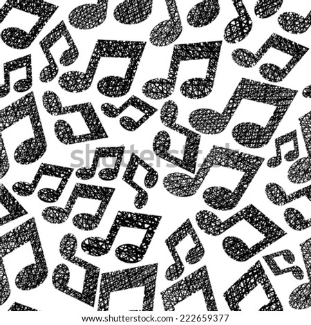 Music notes seamless pattern, musical theme repeating vector background, with hand drawn lines textures. - stock vector