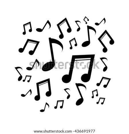 Music notes. Silhouette vector illustration - stock vector