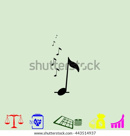 Music notes vector. Black icon on green background. - stock vector