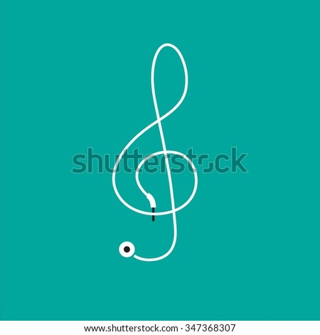 Music notes vector headphone design  - stock vector