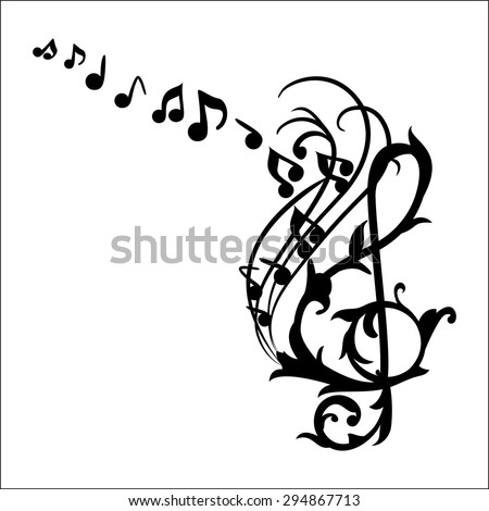 Music Notes Wall Decal Vector Illustration - stock vector