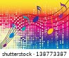 music notes with white dots and rainbow background - stock vector