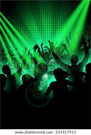 Music Party Background with silhouettes of dancing people  - Vector - stock vector