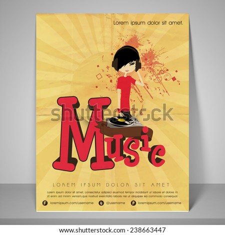 Music party flyer with address bar and mailer on retro background. - stock vector
