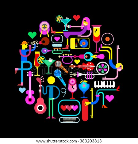 Music party vector illustration on a black background. Round shape composition with funny people, musical instruments and cocktail glasses. - stock vector