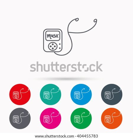 Music player icon. Songs portable device sign. Multimedia sound technology symbol. Linear icons in circles on white background. - stock vector