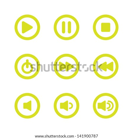 Music Player Navigation Icons - stock vector