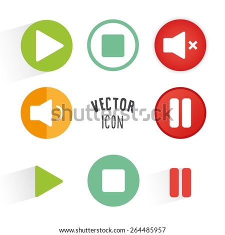 Music player themed icon set. Simple circle shape button with white minimalistic icon. Vector graphic elements. - stock vector