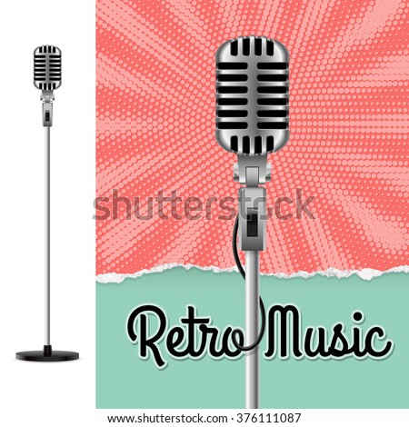 Music Poster with Microphone. Disco Party Flyer or Poster for Musical Event - stock vector