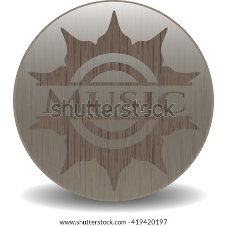 Music realistic wood emblem - stock vector