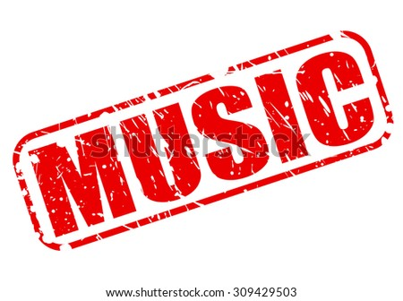 Music red stamp text on white - stock vector