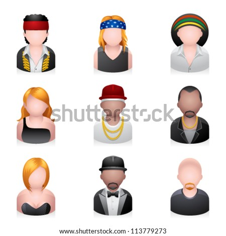 Music related people icons. Transparent shadow placed on separate layer. - stock vector