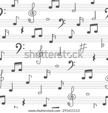 Music seamless pattern background. Hand drawn music notes. Vector illustration - stock vector