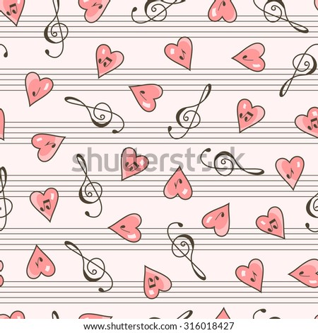 Music seamless pattern. Clef, Hearts, Notes. Valentine's Day background. - stock vector