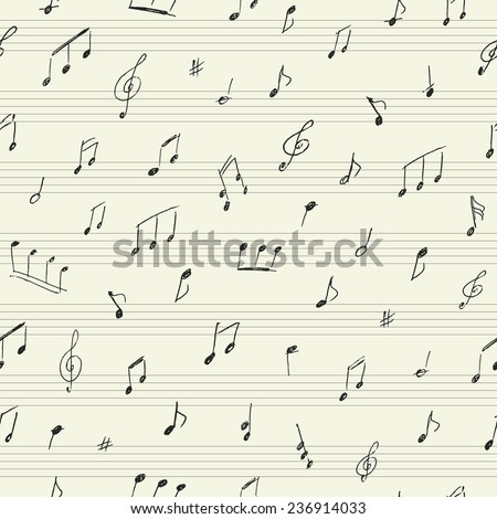 Music seamless pattern with handwritten musical notes  - stock vector