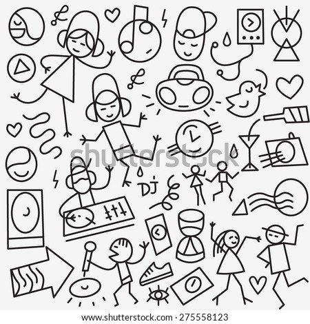 music - set thin line icons - stock vector