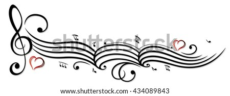 Music sheet with music notes and clef, vector design element - stock vector