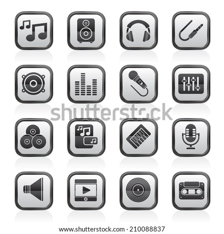 Music, sound and audio icons - vector icon set - stock vector