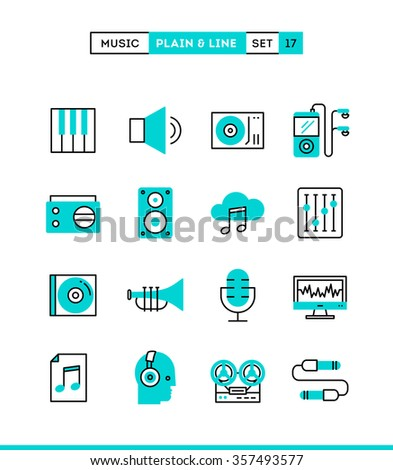 Music, sound, recording, editing and more. Plain and line icons set, flat design, vector illustration - stock vector