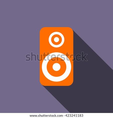 Music speaker icon, flat style - stock vector