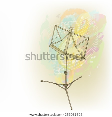 music stand in abstract composition with notes and key - stock vector