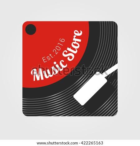 Music store vector logo. Template design element for business related to music - recording, festival, store.  Vinyl illustration - stock vector
