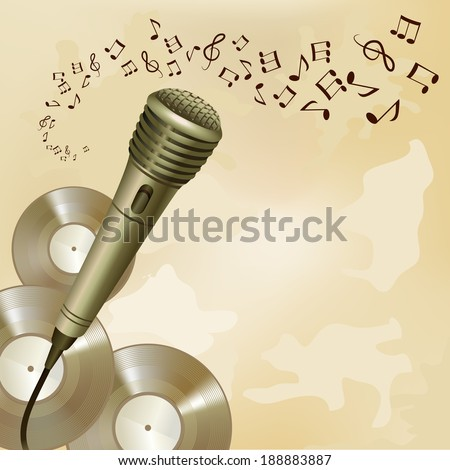 Music symbols and vinyl disks background microphone musical equipment print vector illustration - stock vector