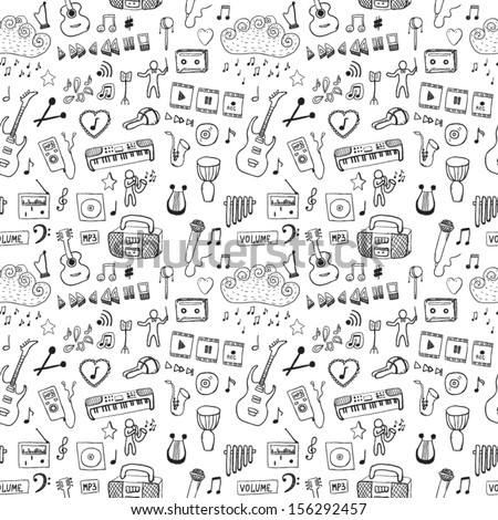 Music symbols. Seamless pattern - stock vector