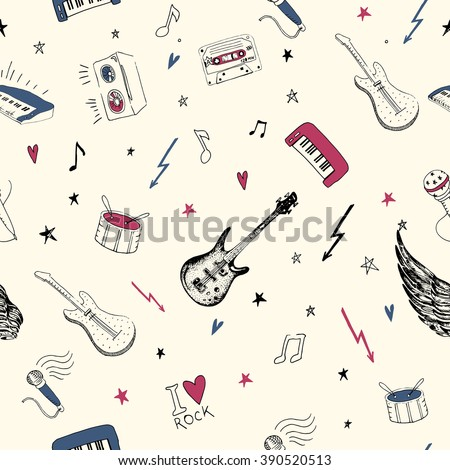 Music symbols. Seamless pattern. rock music background textures, musical hand drawn doodle style. - stock vector
