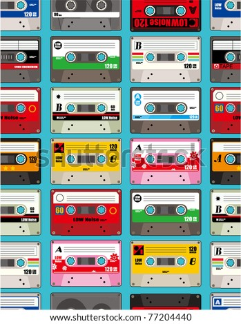 music tape seamless - stock vector