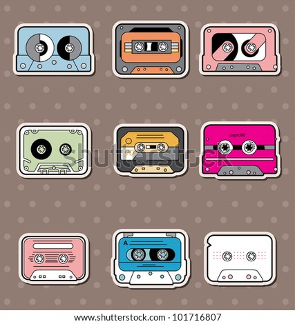 music Tapes stickers - stock vector