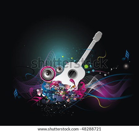 music theme with abstract rainbow color background, vector illustration, No mesh in this Vector - stock vector