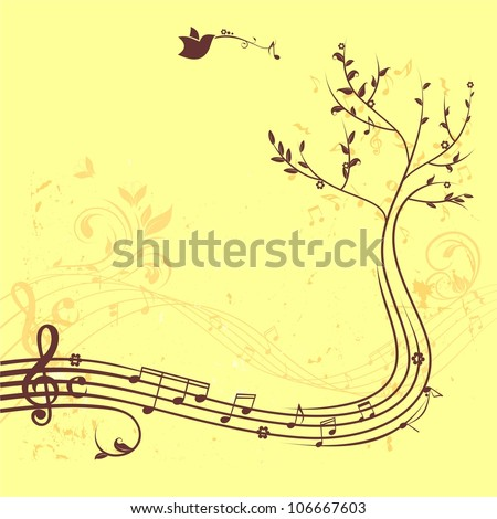 Music tree banner - stock vector