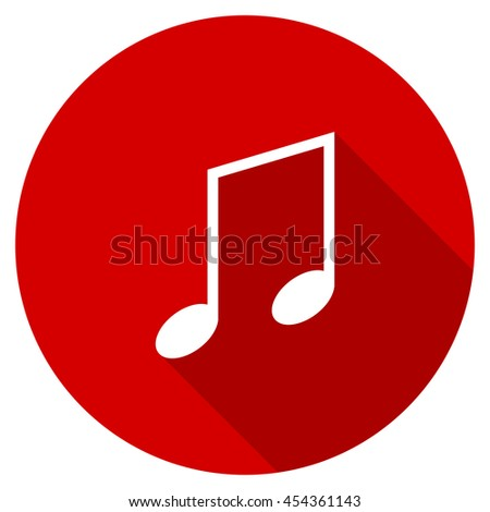 music vector icon, red modern flat design web element - stock vector