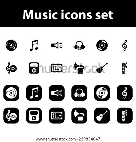Music vector icons set - stock vector