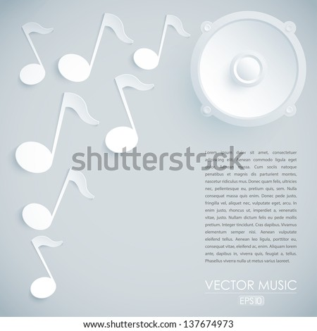 Music vector illustration with speaker and notes - stock vector