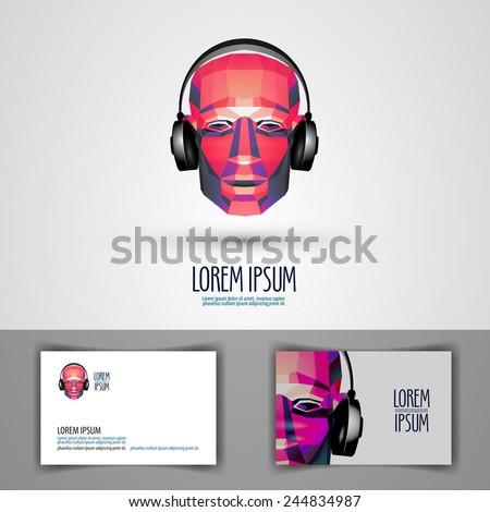 music vector logo design template. headphones or disc-jockey icon. - stock vector