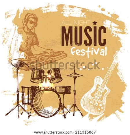 Music vintage background. Splash blob retro design. Music festival poster. Hand drawn sketch vector illustration  - stock vector