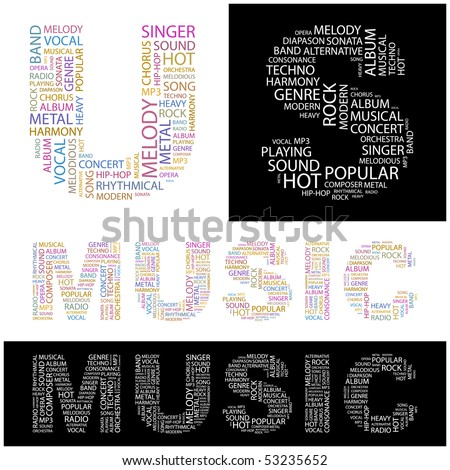 MUSIC. Word collage. Vector illustration. - stock vector