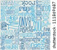 Music words seamless vector - stock vector